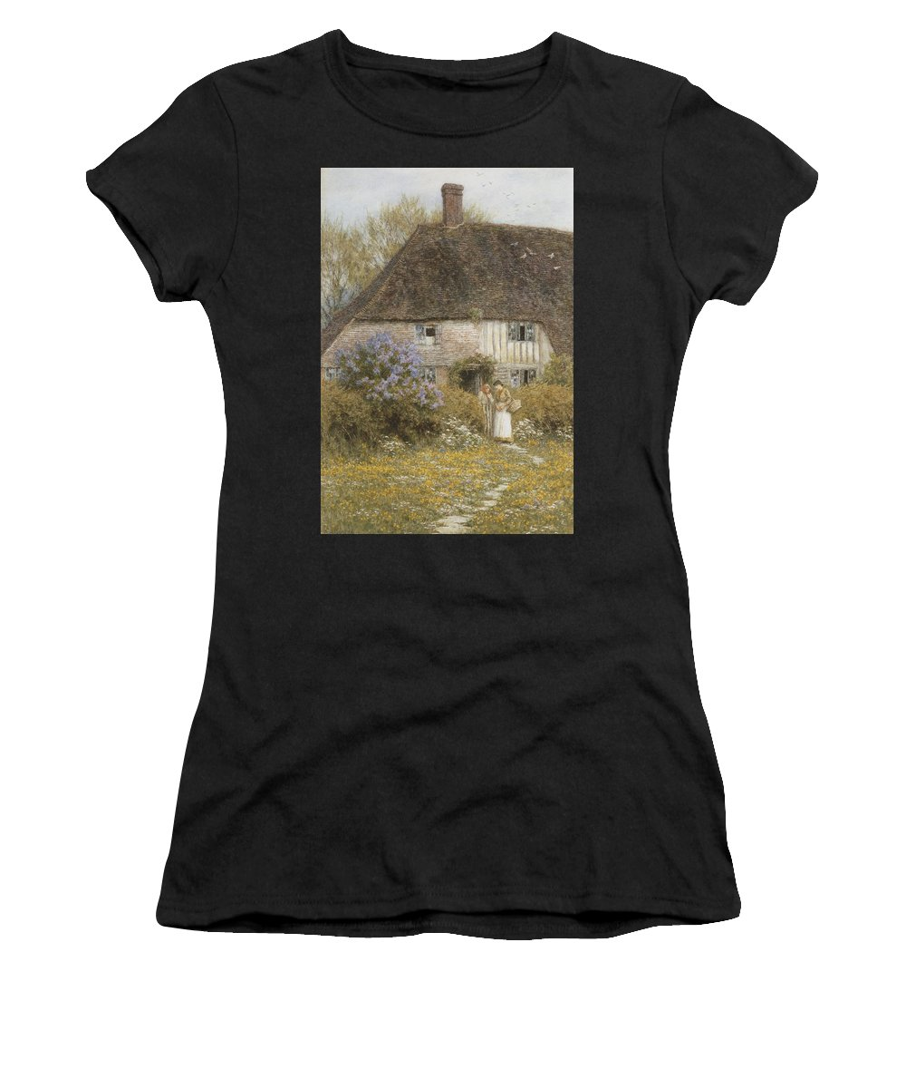 Kent; Female; Women; Hedge; Rural; Countryside; Flowers; C19th; C20th; Garden; Path; Run-down; Elderly; Old; Basket; Exterior Women's T-Shirt (Athletic Fit) featuring the painting A Kentish Cottage by Helen Allingham