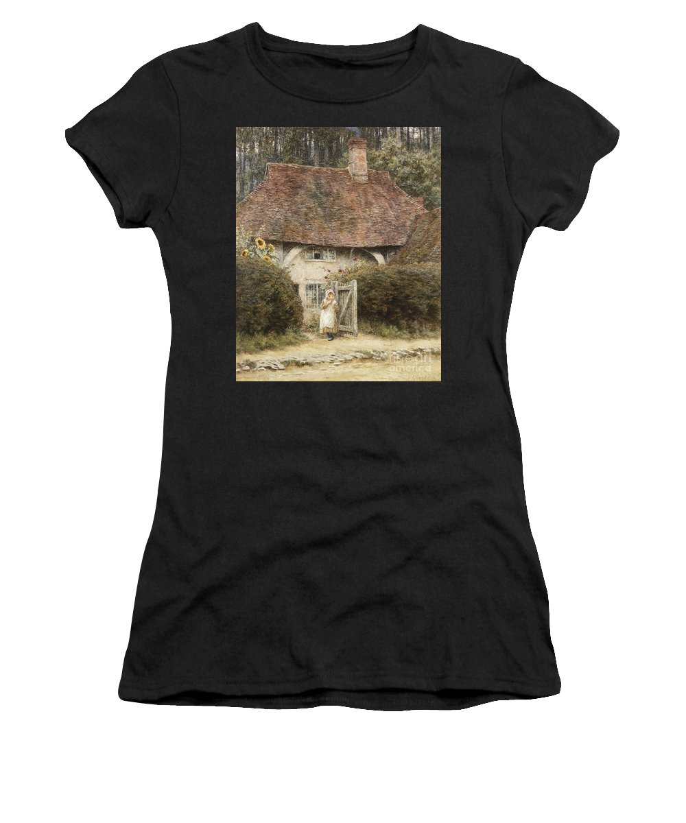 English; Landscape; C19th; C20th; Victorian; Exterior; Gateway; Female; Girl; Child; Path; Country; Lane Women's T-Shirt (Athletic Fit) featuring the painting At The Cottage Gate by Helen Allingham