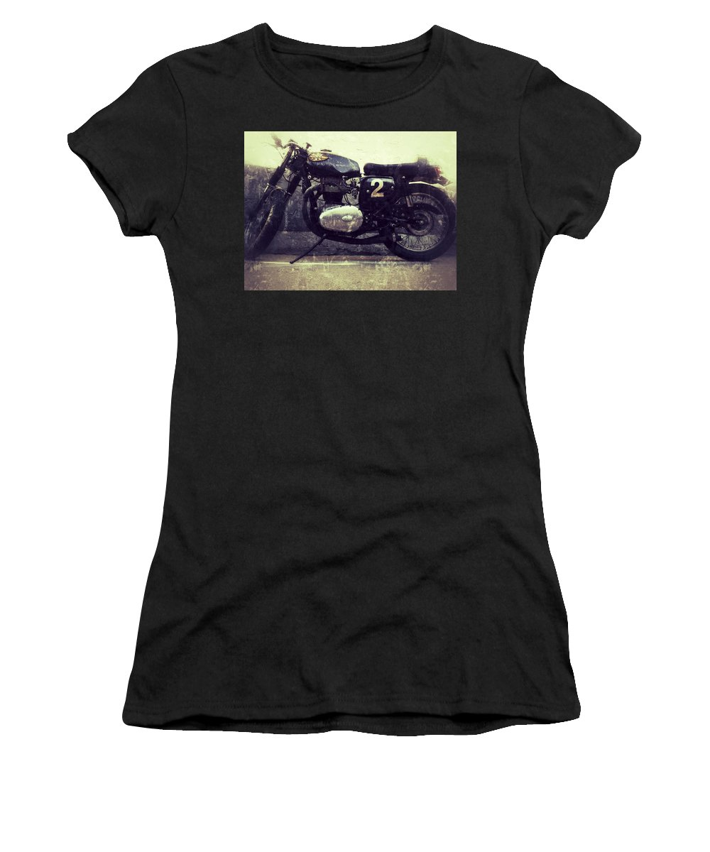 Jerry Cordeiro Photographs Framed Prints Framed Prints Photographs Women's T-Shirt (Athletic Fit) featuring the photograph Bsa Motorbike by The Artist Project