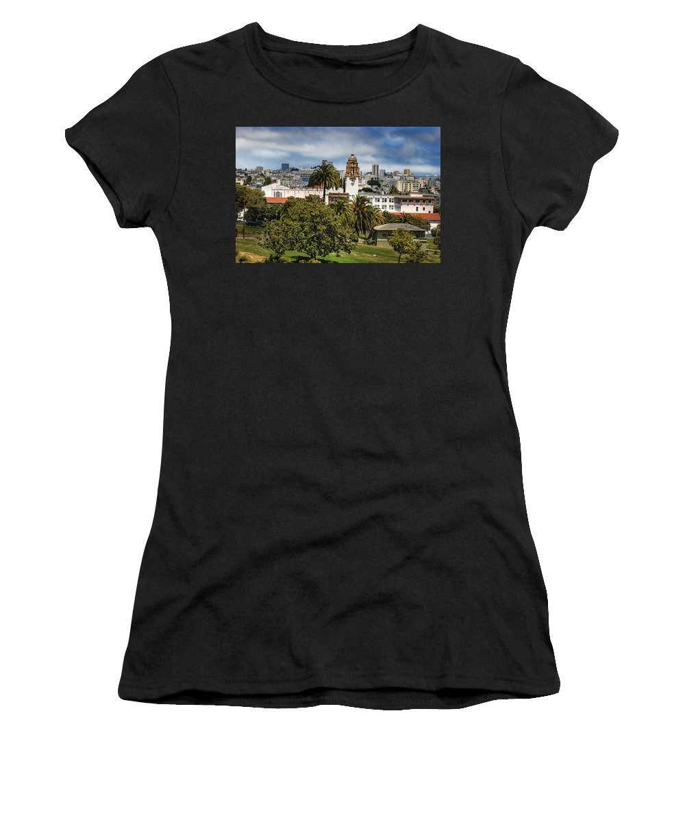 Mission Dolores Park Women's T-Shirt (Athletic Fit) featuring the photograph Mission Dolores Park by Jay Hooker