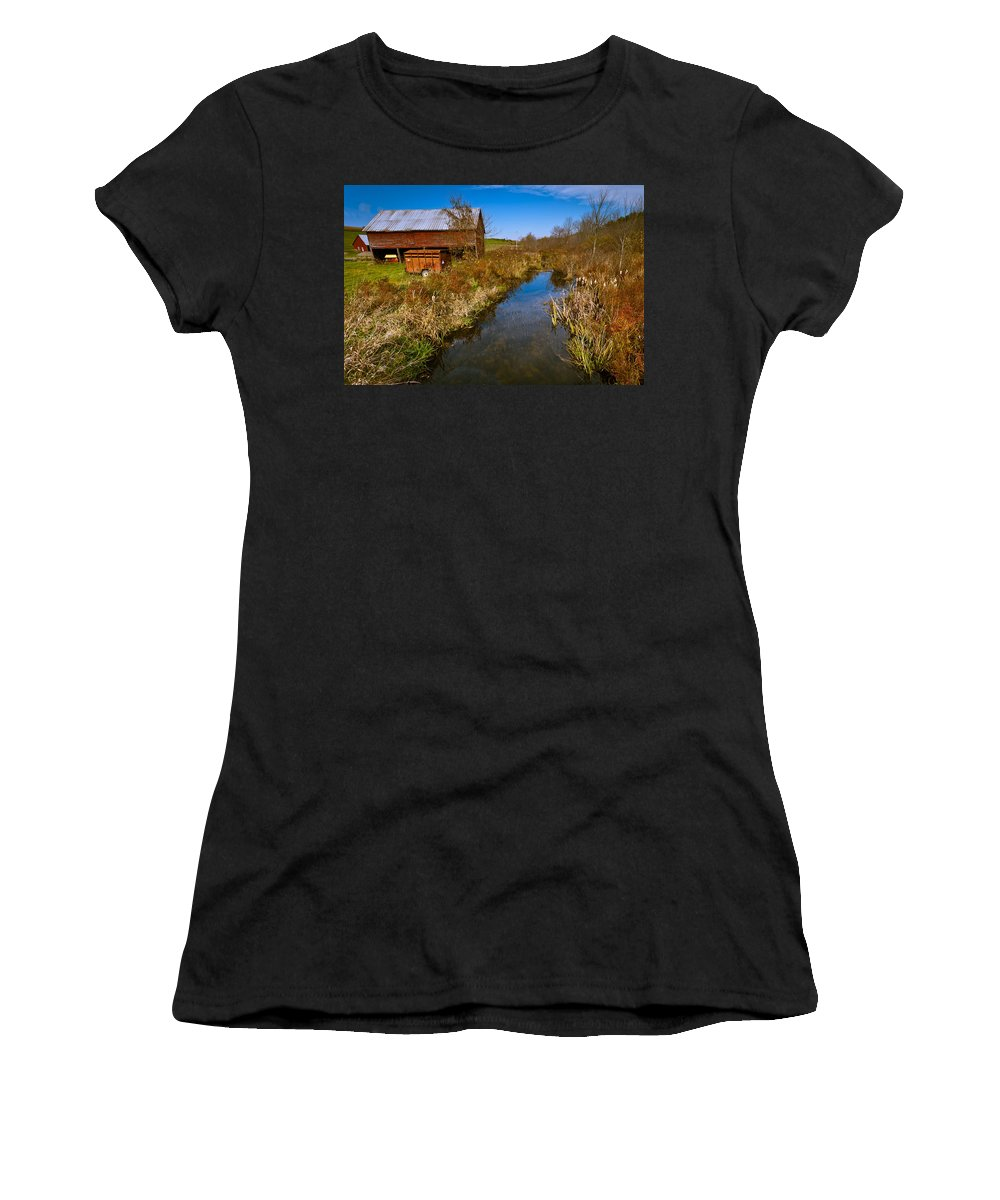 Landscape Women's T-Shirt (Athletic Fit) featuring the photograph New England Farm In Autumn Scenery by Jiayin Ma
