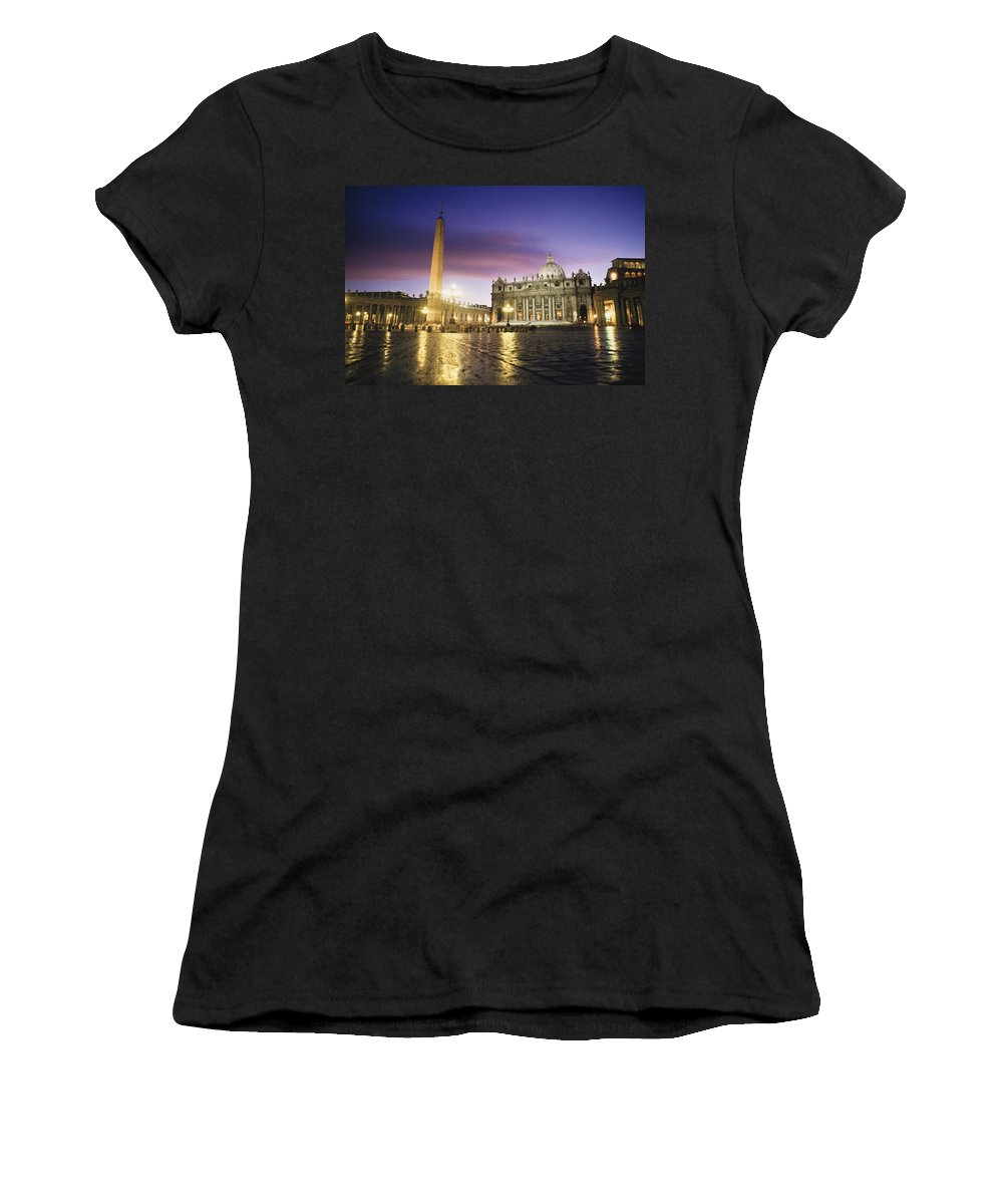 Europe Women's T-Shirt (Athletic Fit) featuring the photograph Nightfall At The Square At St. Peters by Axiom Photographic