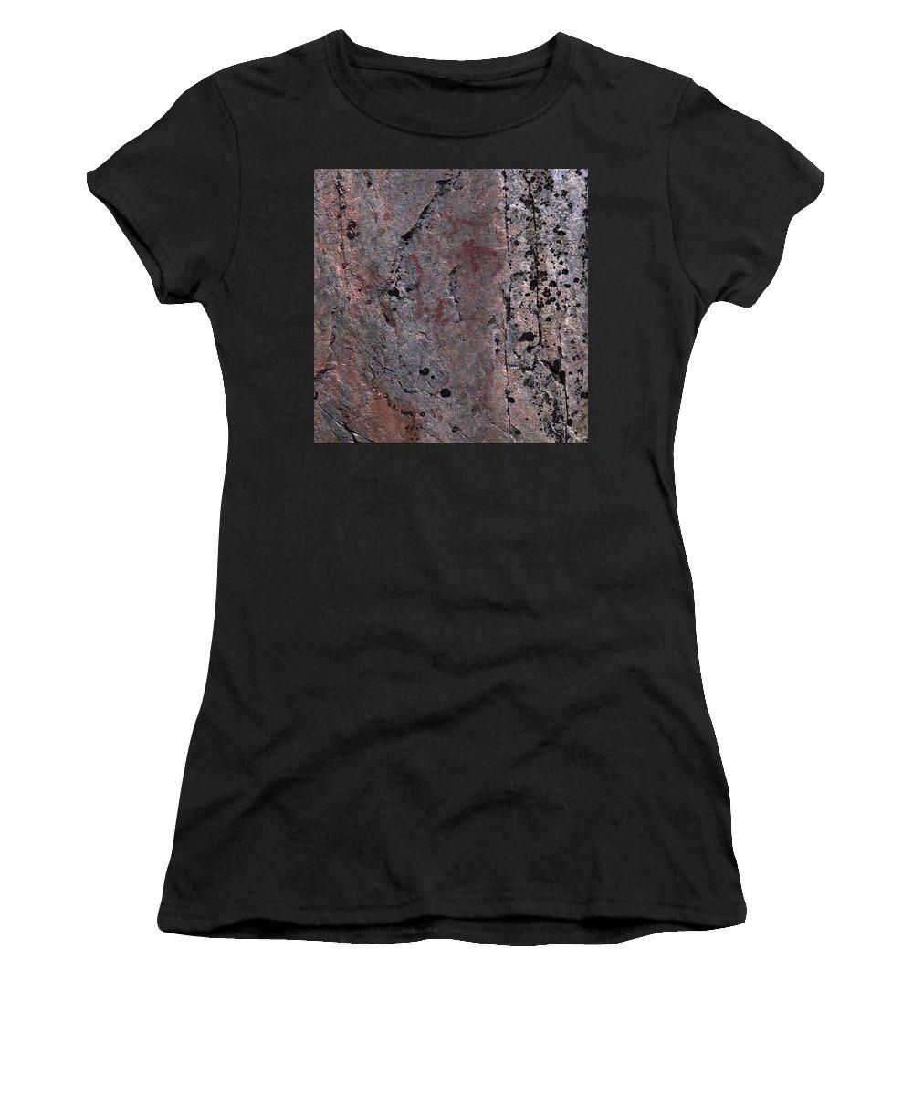 Lehtokukka Women's T-Shirt (Athletic Fit) featuring the photograph Painted Rocks At Hossa With Stone Age Paintings by Jouko Lehto