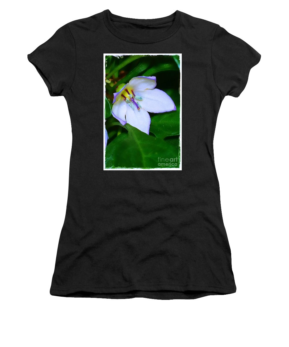 Flower Women's T-Shirt (Athletic Fit) featuring the photograph Purple Edges by Judi Bagwell