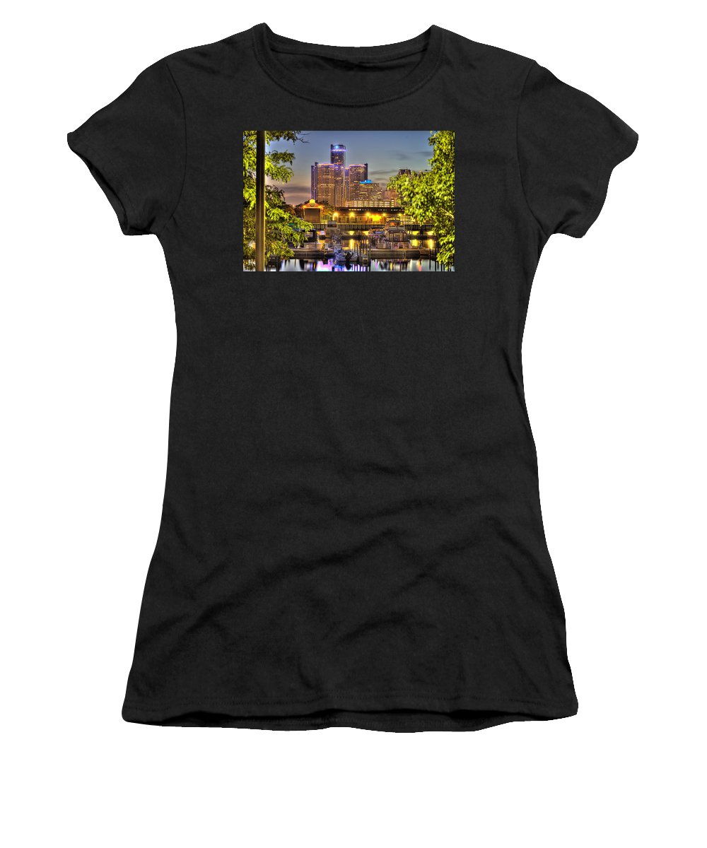 Renaissance Center Women's T-Shirt (Athletic Fit) featuring the photograph Renaissance Center Detroit Mi by Nicholas Grunas