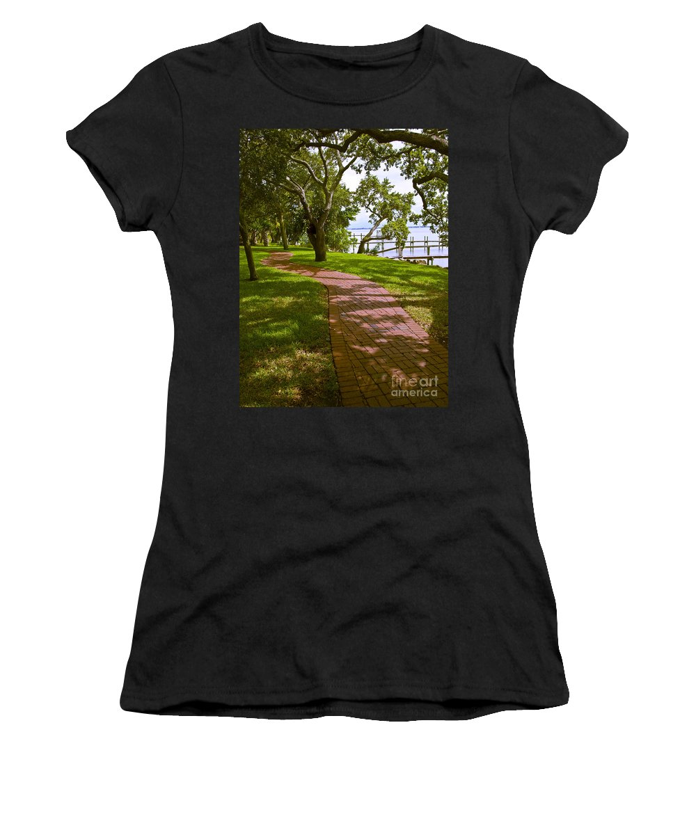 River Women's T-Shirt (Athletic Fit) featuring the photograph River Walk On The Indian River Lagoon by Allan Hughes