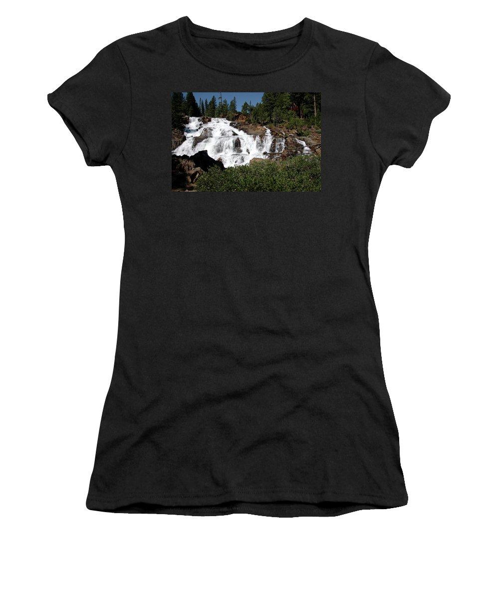 Usa Women's T-Shirt (Athletic Fit) featuring the photograph Running Water Glen Alpine Falls by LeeAnn McLaneGoetz McLaneGoetzStudioLLCcom