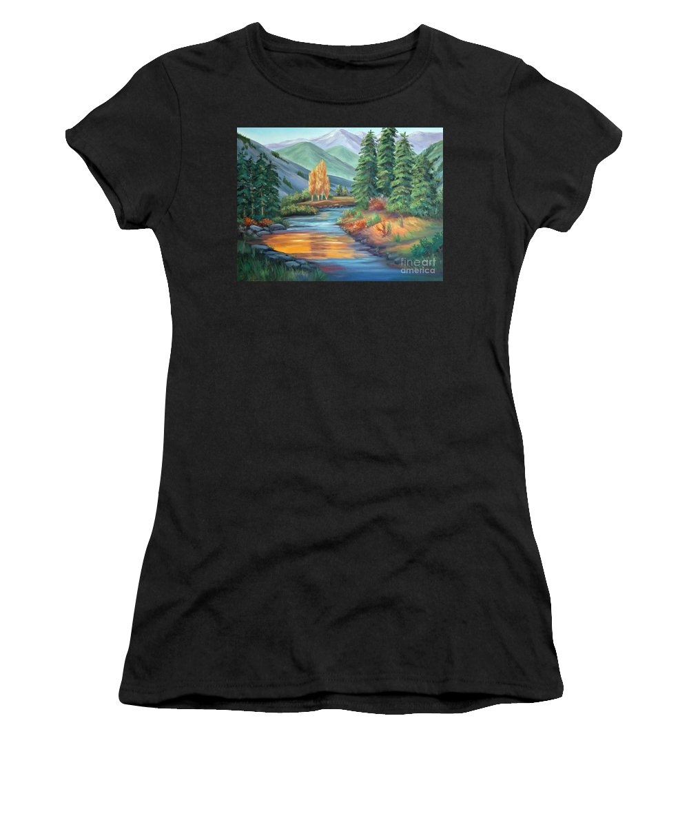 Sierra Creek Women's T-Shirt (Athletic Fit) featuring the painting Sierra Creek by Don Monahan