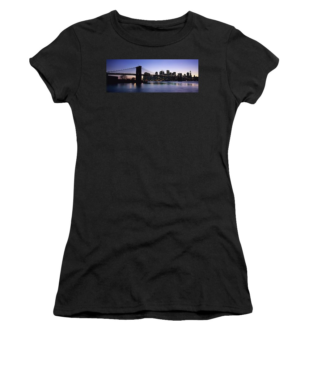 Photography Women's T-Shirt (Athletic Fit) featuring the photograph Sunset Over Lower Manhattan by Axiom Photographic