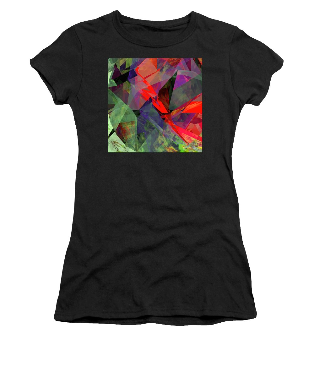 Abstract Women's T-Shirt (Athletic Fit) featuring the digital art Tower Series 26 by Russell Kightley