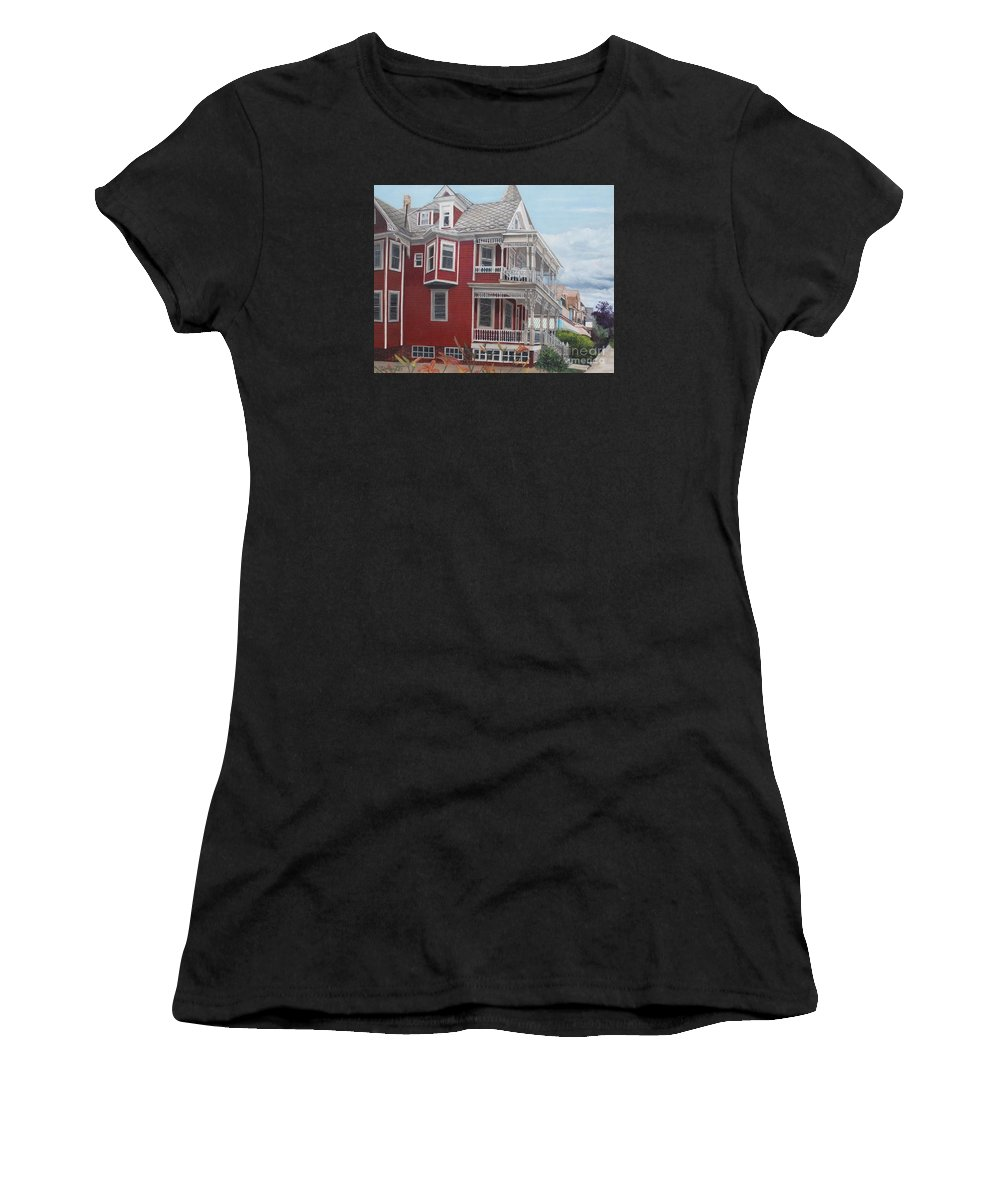 Victorian Women's T-Shirt (Athletic Fit) featuring the painting Victorian Afternoon Cape May by Barbara Barber