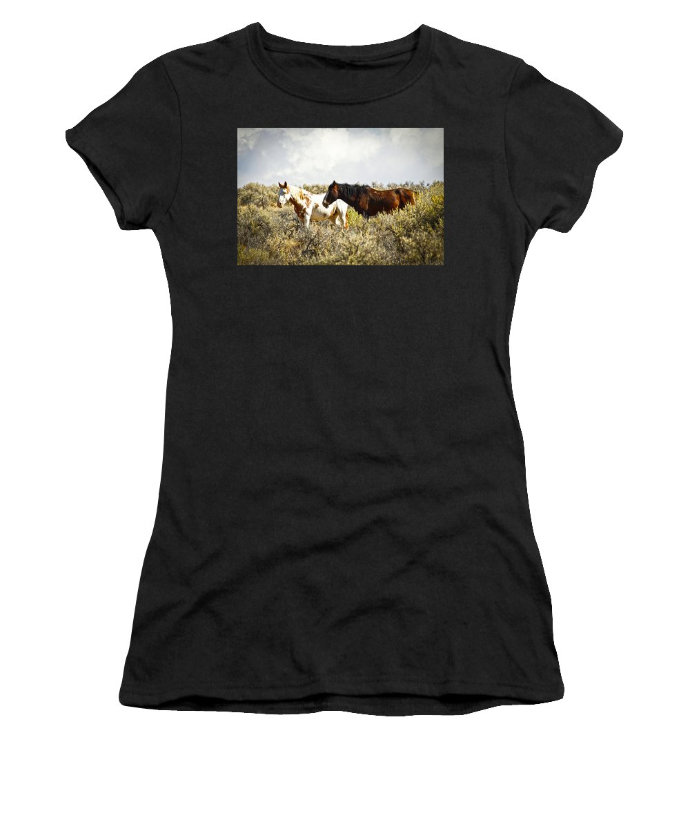 Horses Women's T-Shirt (Athletic Fit) featuring the photograph Wild Horses by Steve McKinzie