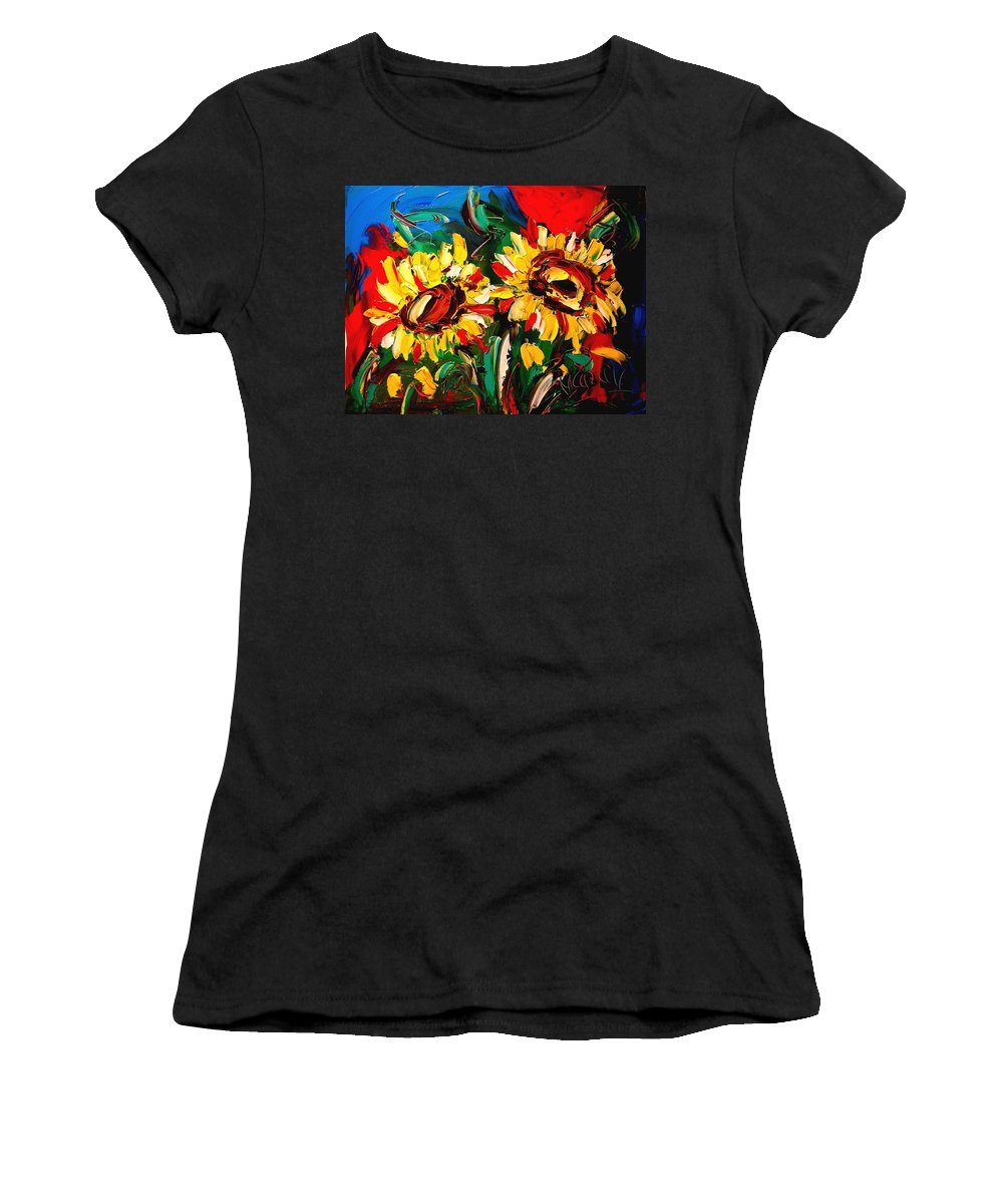 Women's T-Shirt (Athletic Fit) featuring the painting Sunflowers by Mark Kazav