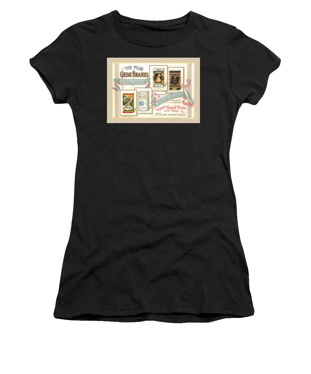 1889 Women's T-Shirt (Athletic Fit) featuring the photograph 1889 W. Duke Sons Co Cigarettes Trading Card by Anne Kitzman