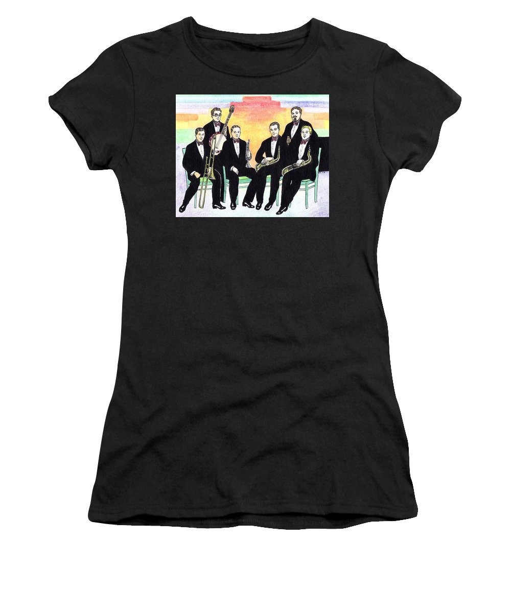 Nostalgia Women's T-Shirt (Athletic Fit) featuring the drawing 1927 New Yorkers Jazz Band by Mel Thompson