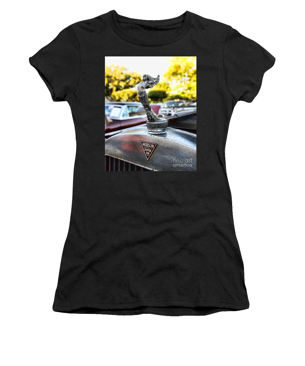 1928 Hudson Super Six Roadster Hood Ornament Women's T-Shirt (Athletic Fit) featuring the photograph 1928 Hudson Super Six Roadster Hood Ornament by Paul Ward