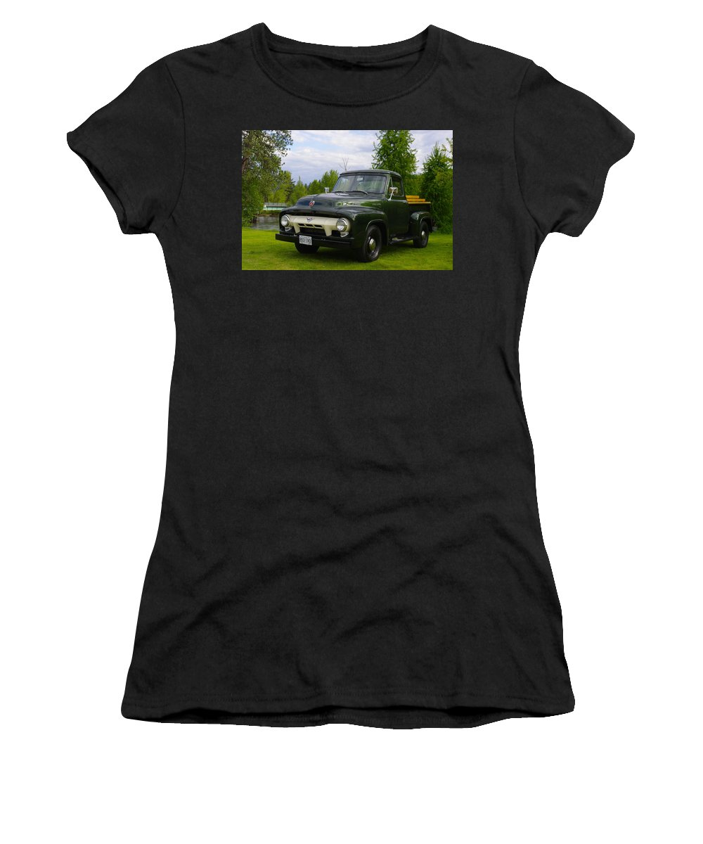 Truck Women's T-Shirt (Athletic Fit) featuring the photograph 1953 Ford F-100 by John Greaves