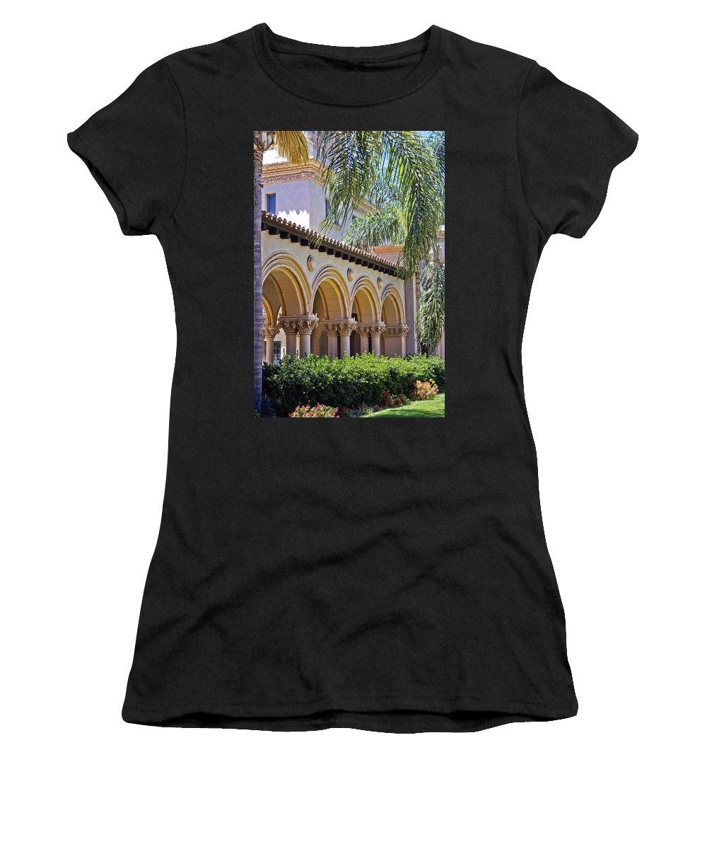 Balboa Park Women's T-Shirt featuring the photograph Balboa Park Arches by Linda Dunn