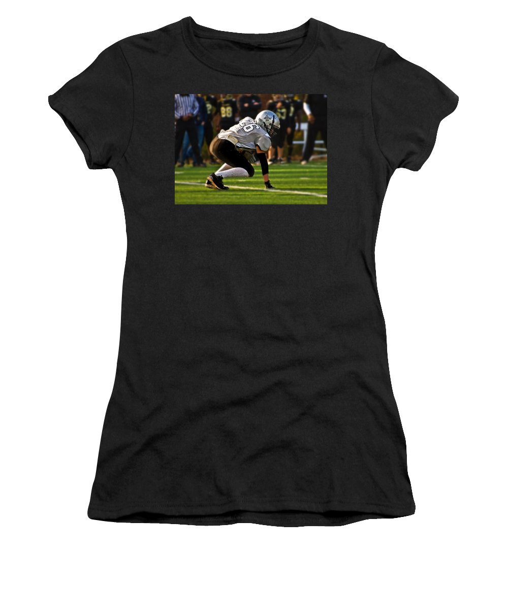 Young Women's T-Shirt (Athletic Fit) featuring the photograph Youth Football by Susan Leggett