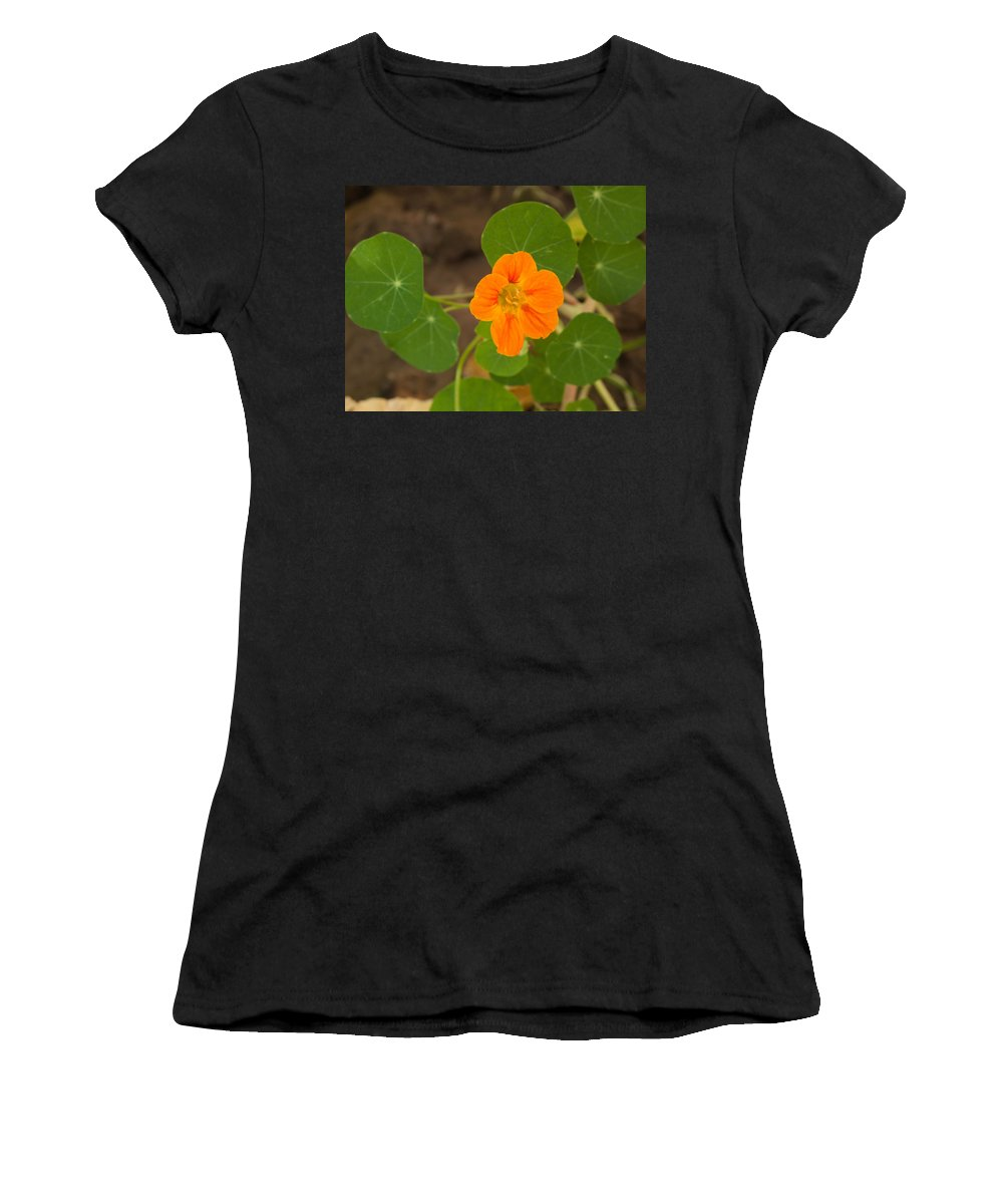 Flower Women's T-Shirt (Athletic Fit) featuring the photograph A Beautiful Orange Trumpet Shaped Flower With Green Leaves by Ashish Agarwal