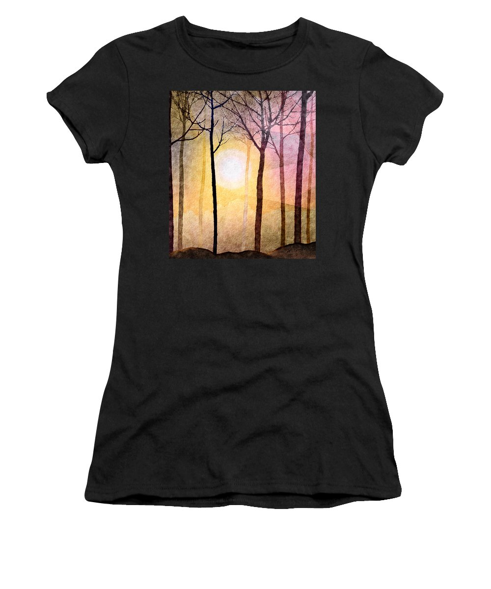 Sun Rays Women's T-Shirt (Athletic Fit) featuring the mixed media A New Day by Kimberlee Fiedler