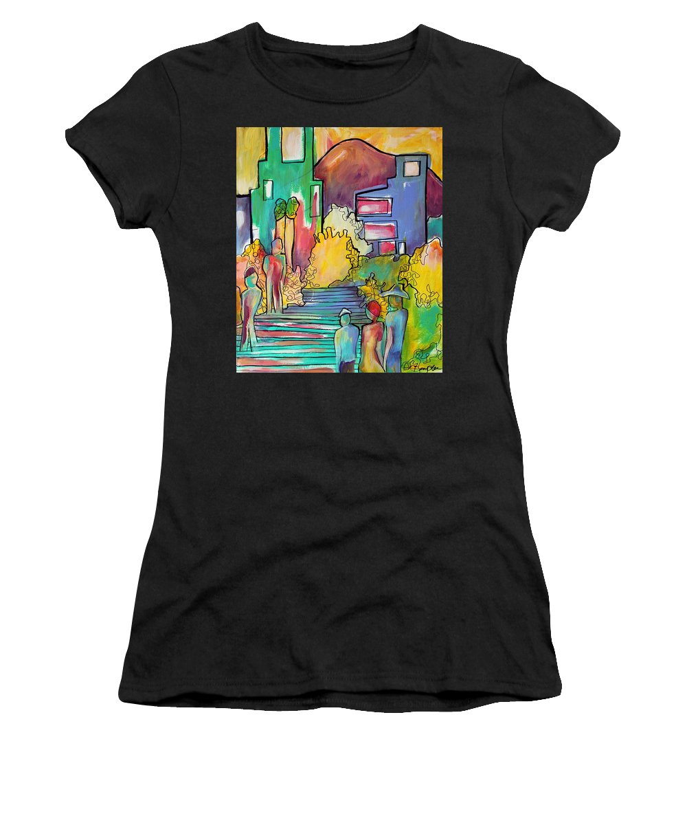 Figures Women's T-Shirt featuring the painting A Shared Story by Darcy Lee Saxton