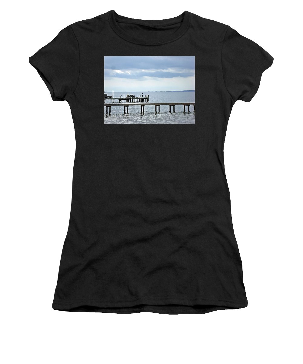 Blue Heron Women's T-Shirt (Athletic Fit) featuring the photograph A Stormy Day On The Pamlico River by Joan Meyland