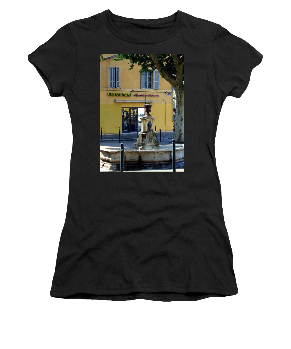 Fountain Women's T-Shirt (Athletic Fit) featuring the photograph Aix En Provence Fountain by Carla Parris