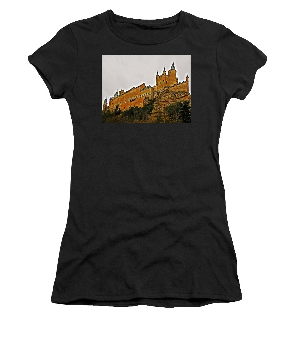 Europe Women's T-Shirt (Athletic Fit) featuring the photograph Alcazar De Segovia - Spain by Juergen Weiss