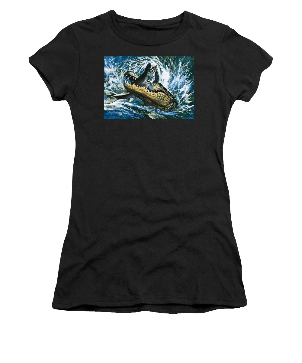 Fish; Eating; Fishing; Water; Splash; Alligator Women's T-Shirt (Athletic Fit) featuring the painting Alligator Eating Fish by English School