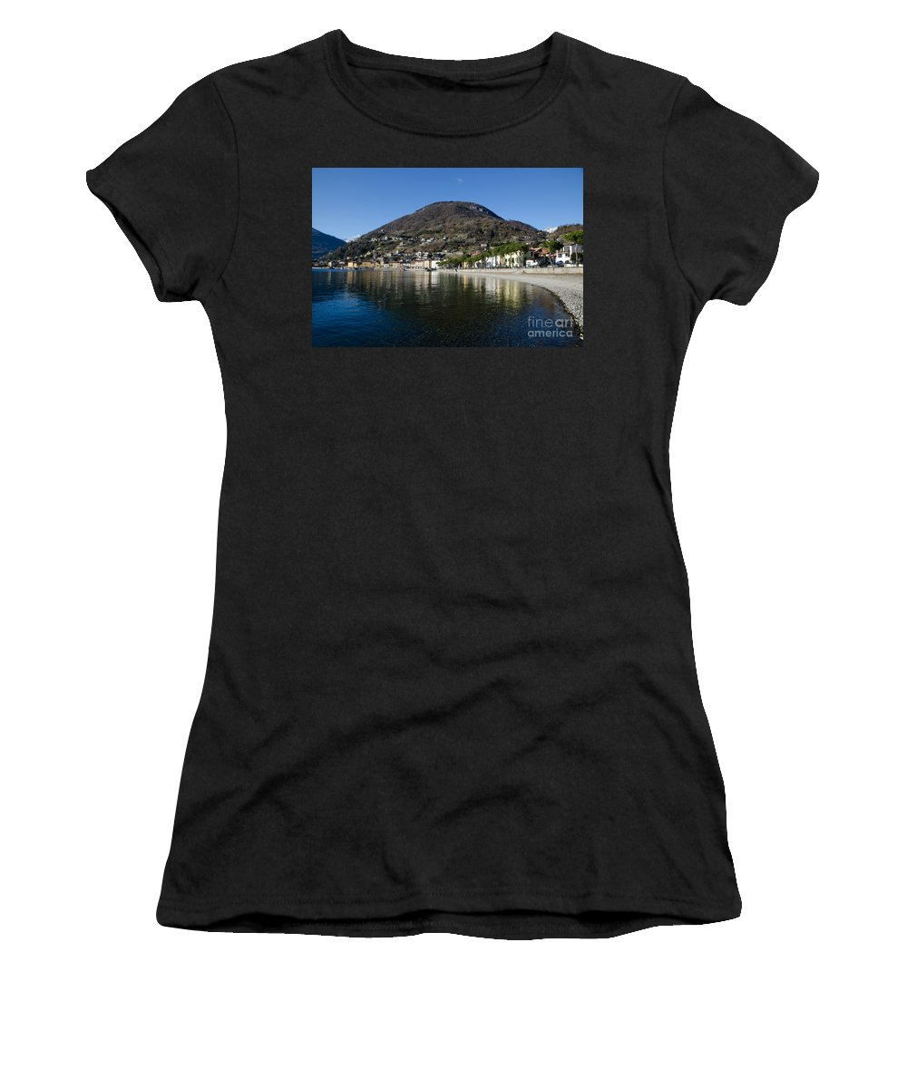 Village Women's T-Shirt (Athletic Fit) featuring the photograph Alpine Village Reflected In The Lake by Mats Silvan