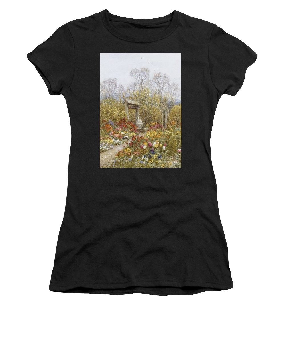 Village; Exterior; Cottage; Lane; Country; English; Landscape; C19th; C20th; Victorian; Mother; Child; Children; Girls; Female; Chickens Women's T-Shirt (Athletic Fit) featuring the painting An Old Well Brook Surrey by Helen Allingham