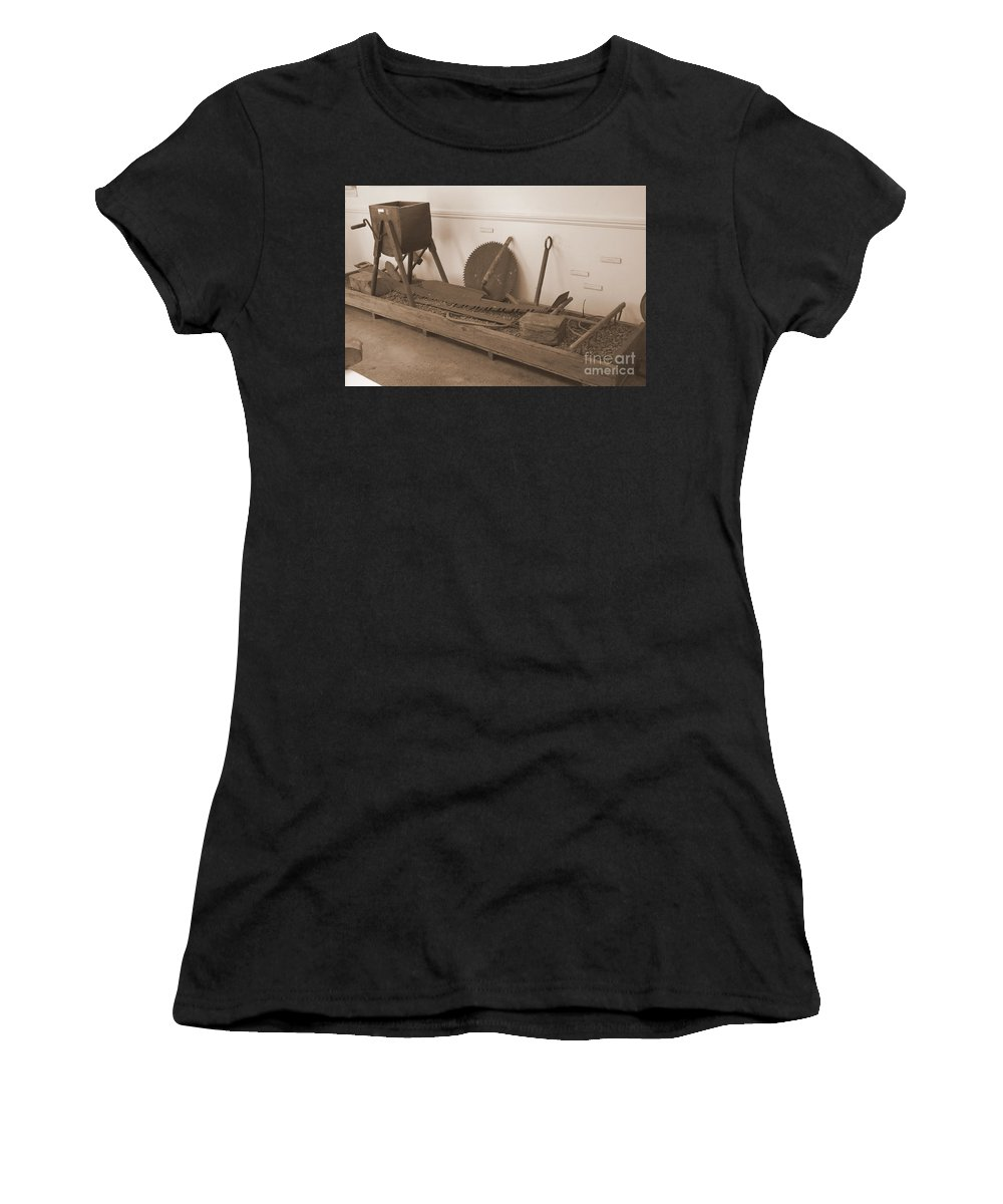 Sepia Women's T-Shirt (Athletic Fit) featuring the photograph Antiquated Plantation Tools - 1 by Mary Deal