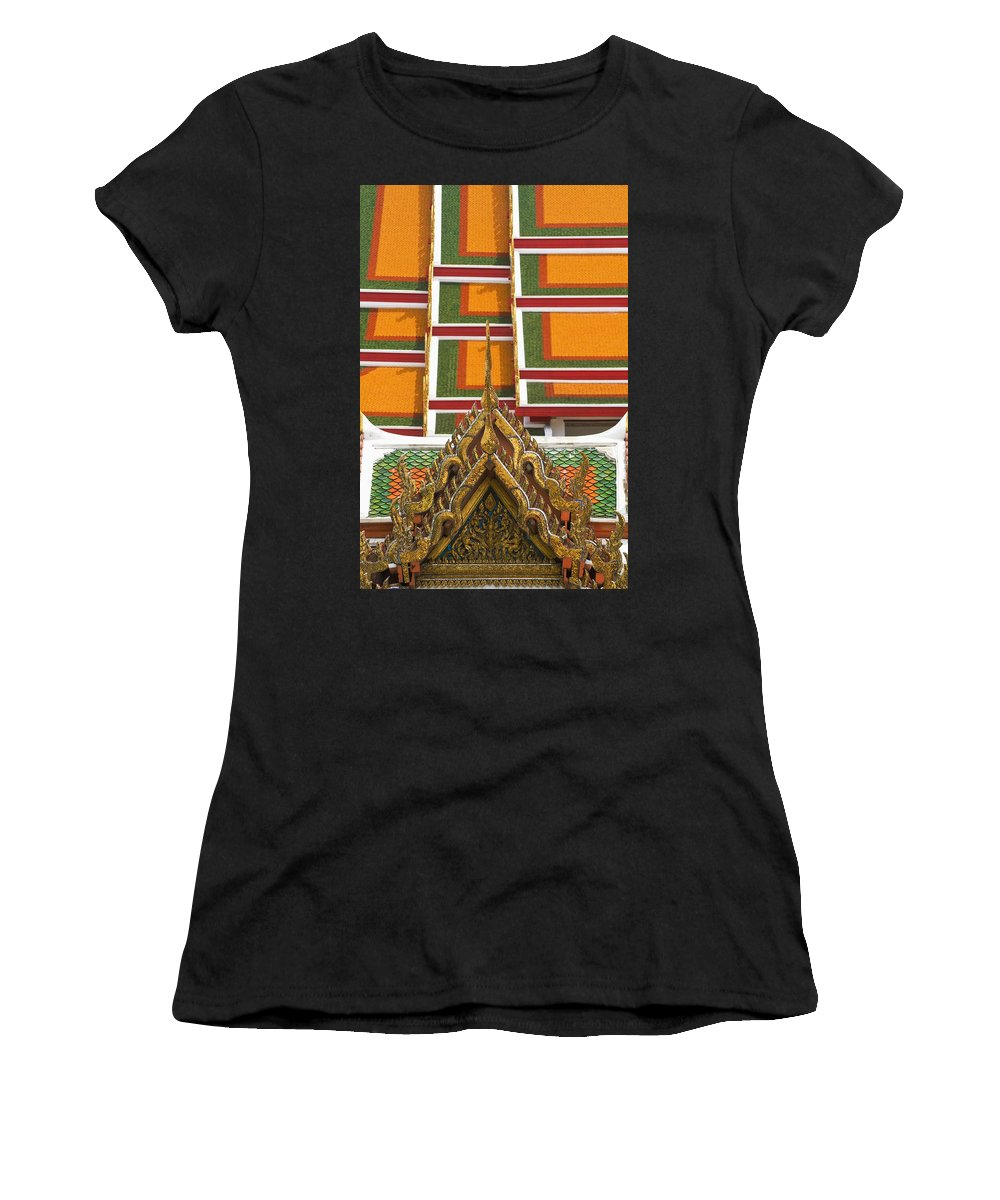 Photography Women's T-Shirt (Athletic Fit) featuring the photograph Architectural Detail Of Wat Pho Temple by Axiom Photographic
