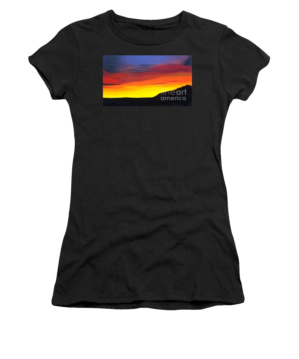 Arizona Sunset Women's T-Shirt (Athletic Fit) featuring the painting Arizona Sunset by Don Monahan