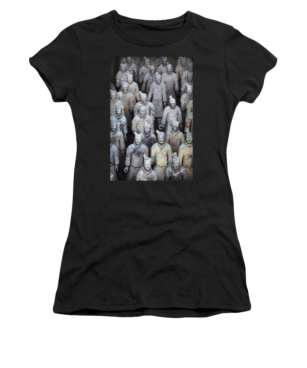 No People Women's T-Shirt (Athletic Fit) featuring the photograph Army Of Terracotta Warriors In Xian by Axiom Photographic