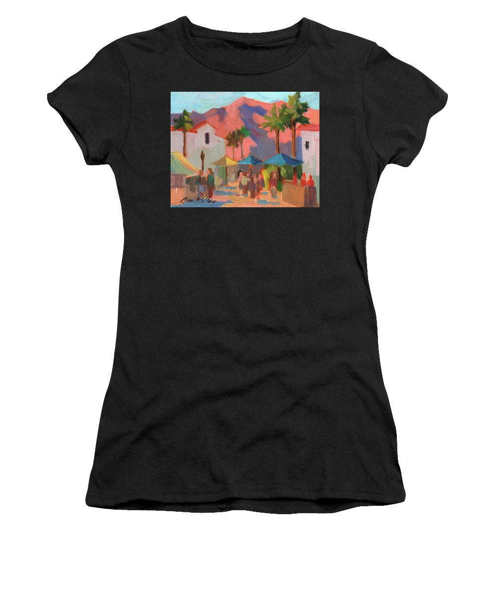 Festival Women's T-Shirt featuring the painting Art Under The Umbrellas by Diane McClary