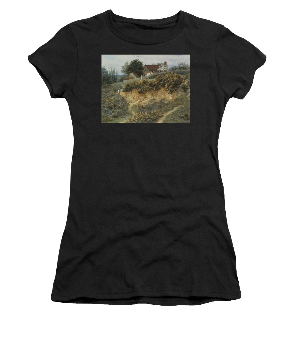 English; Landscape; Rural; C19th; C20th; Hill; Hilly; Cottage; Bank; Children; Playing; Victorian Women's T-Shirt (Athletic Fit) featuring the painting At Sandhills Witley by Helen Allingham