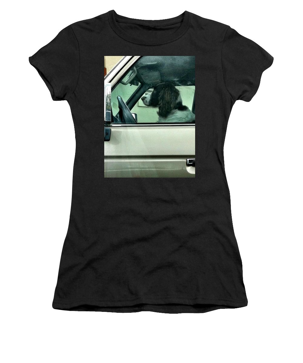 Dogs Women's T-Shirt (Athletic Fit) featuring the photograph ATM by Charles TheArtBaran
