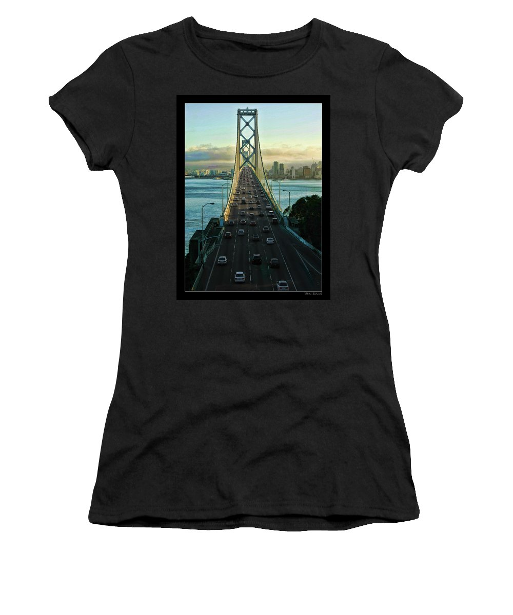 San Francisco Bay Bridge Women's T-Shirt (Athletic Fit) featuring the photograph Atop Of San Francisco Bay Bridge by Blake Richards
