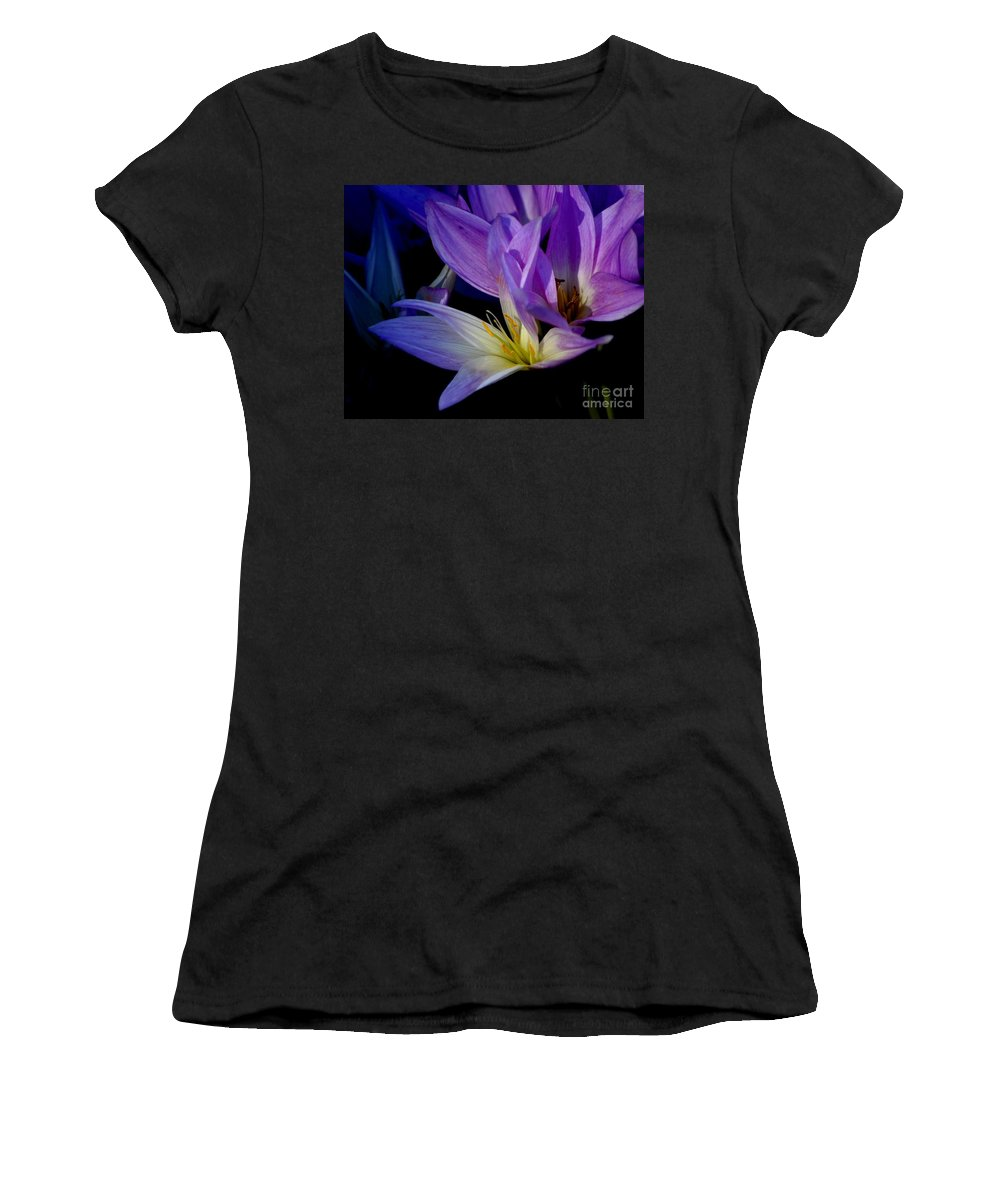 Floral Women's T-Shirt (Athletic Fit) featuring the photograph Autumn Crocus by Living Color Photography Lorraine Lynch