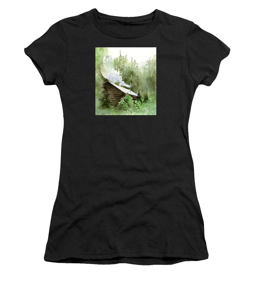 Landscape Women's T-Shirt (Athletic Fit) featuring the painting Backcountry Morning by Marsha Karle