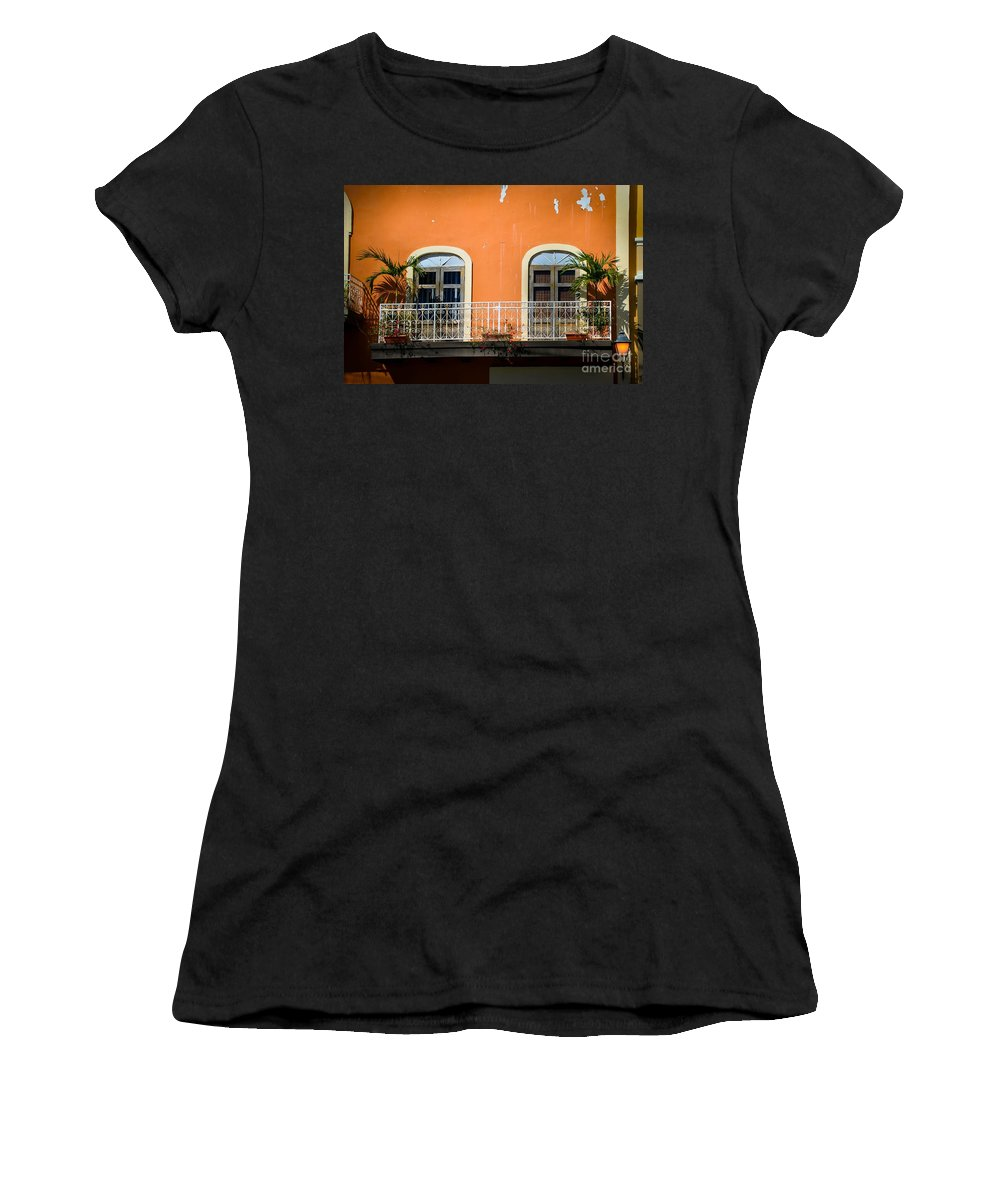 Window Women's T-Shirt (Athletic Fit) featuring the photograph Balcony With Palms by Perry Webster