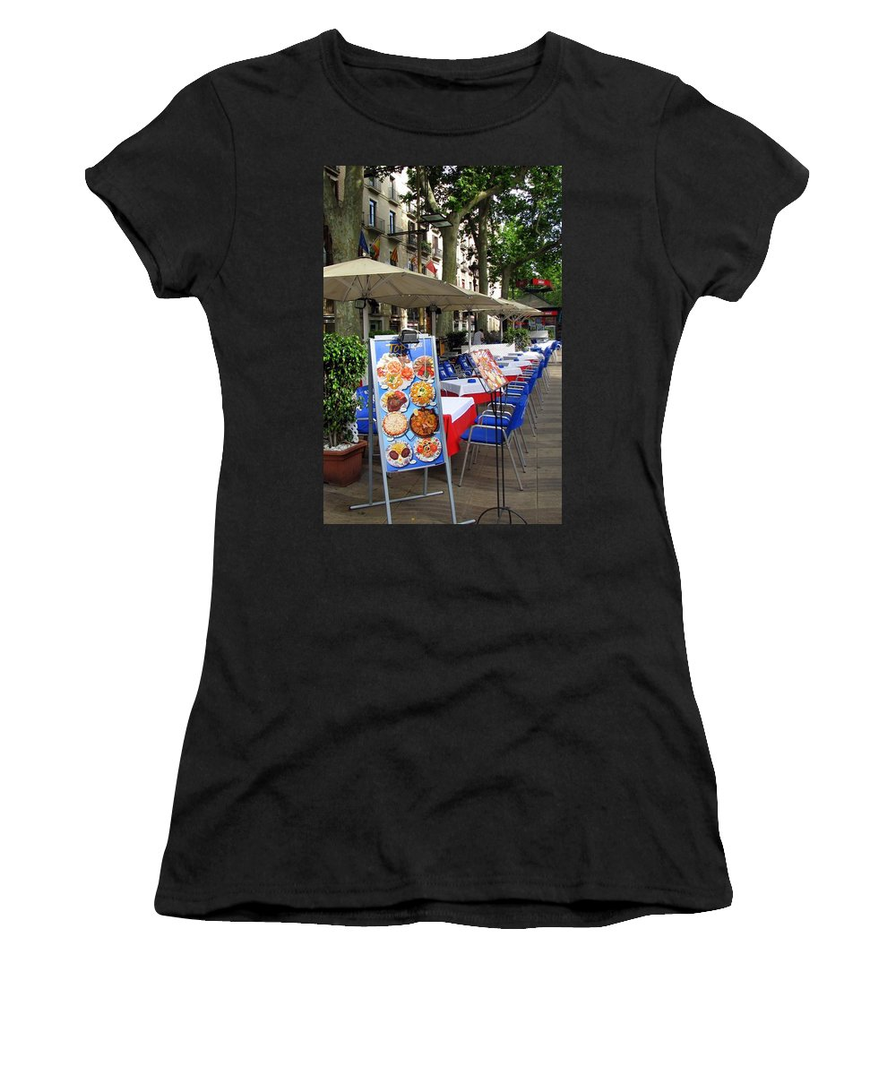 Barcelona Women's T-Shirt (Athletic Fit) featuring the photograph Barcelona Tapas Bar by Carla Parris