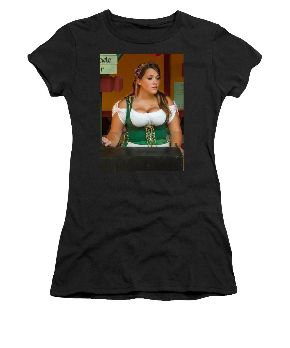Festival Women's T-Shirt (Athletic Fit) featuring the photograph Beverage Wench by Guy Whiteley