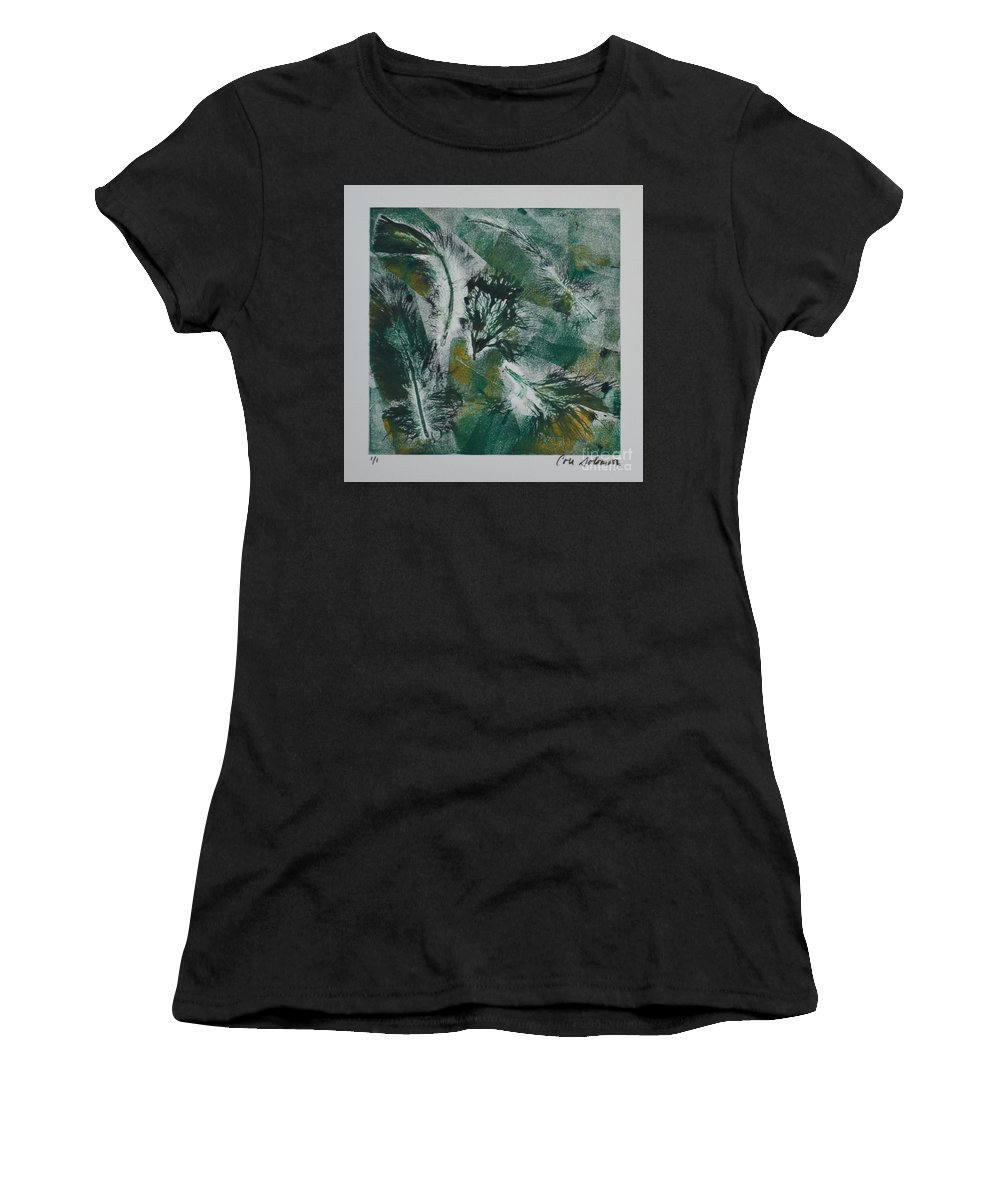Abstract Women's T-Shirt (Athletic Fit) featuring the mixed media Birds Of A Feather by Cori Solomon