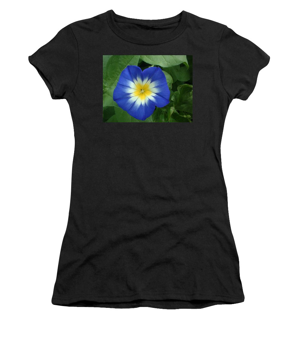 Flower Women's T-Shirt (Athletic Fit) featuring the photograph Blue Burst by Bonfire Photography