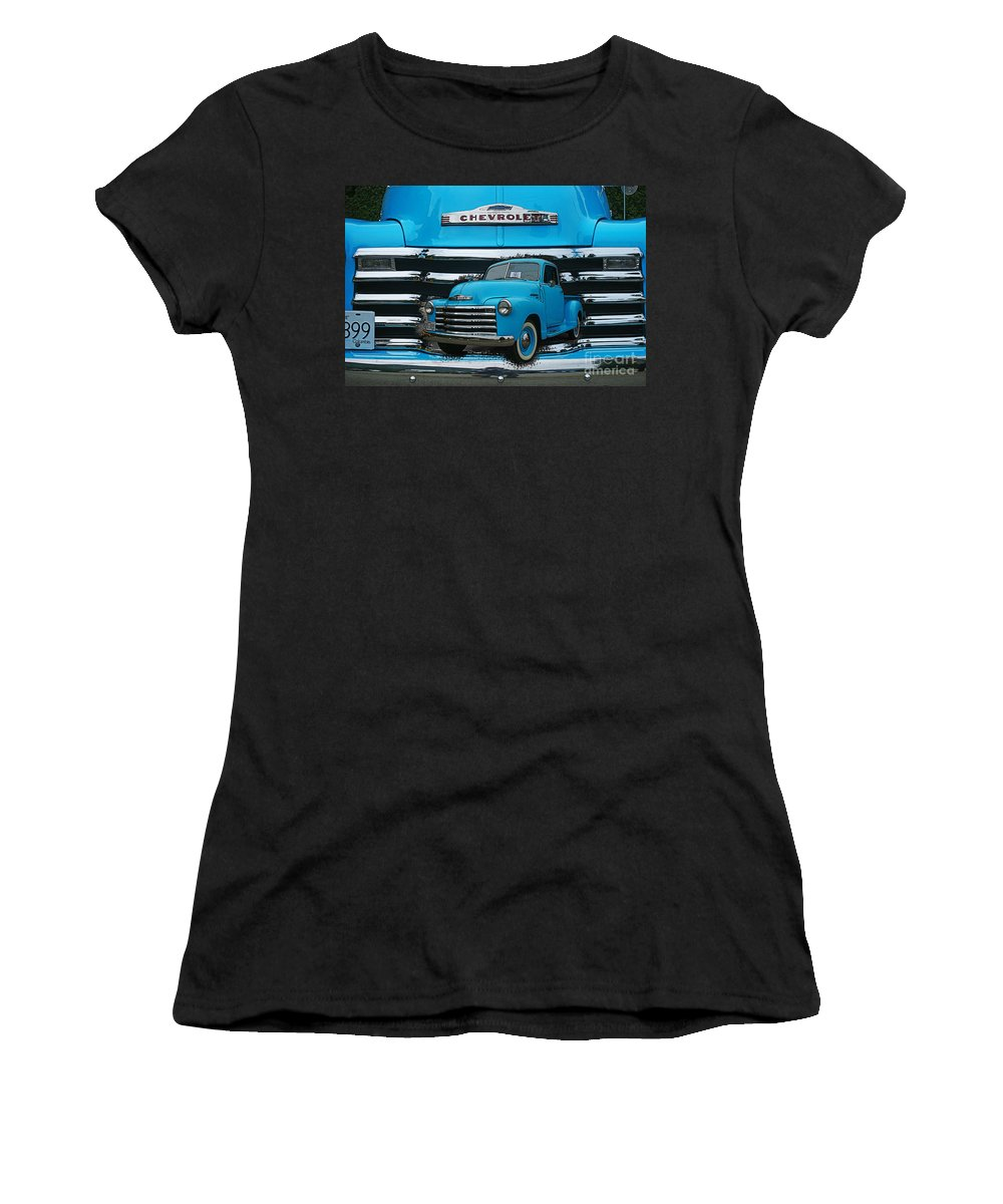 Cars Women's T-Shirt (Athletic Fit) featuring the photograph Blue Chevy Pu In The Grill by Randy Harris