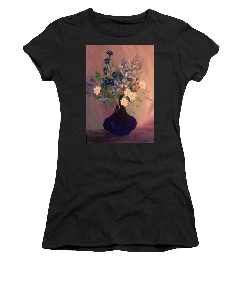 Blue Women's T-Shirt (Athletic Fit) featuring the painting Blue Flowers 2 by Christy Saunders Church