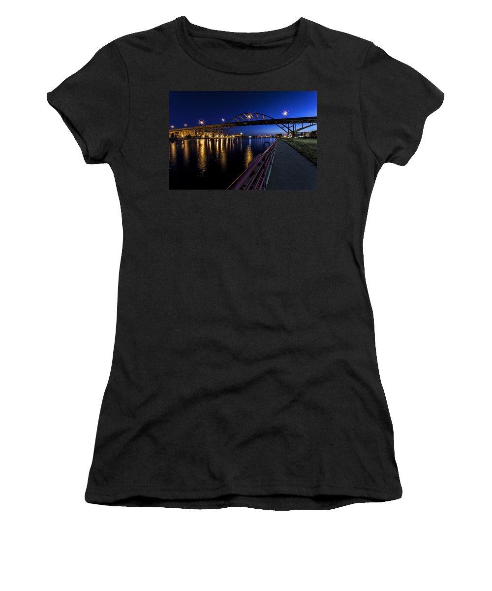 Cj Schmit Women's T-Shirt featuring the photograph Blue Hour Hoan by CJ Schmit